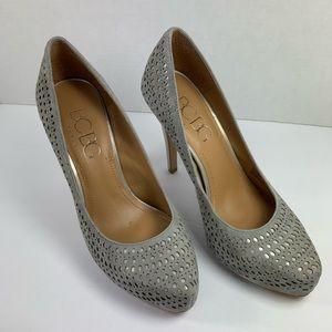 BCBG Paris Heels Gray Suede w/Silver Underlay